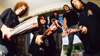 MY CHEMICAL ROMANCE posed, group shot, in hotel room