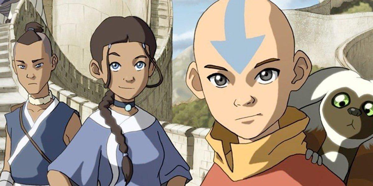 Sokka, Katara, Aang, and Momo