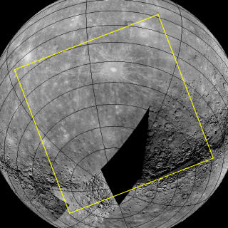The first photo NASA's Messenger probe takes from orbit around Mercury will reveal an area of the planet (shown by yellow box) that includes never-before-imaged terrain (black area).
