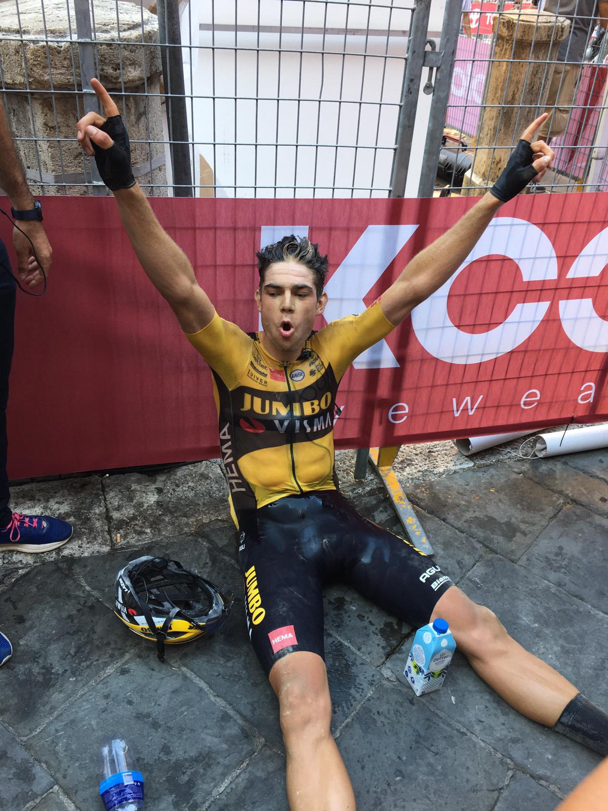 Wout Van Aert celebrates Strade Bianche 2020 victory