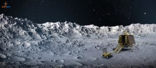 An artist's depiction of India's Chandrayaan-2 lander and rover on the surface of the moon, near its south pole.
