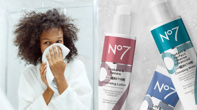 woman washing her face next to the new No7 Pro Age Cleansers