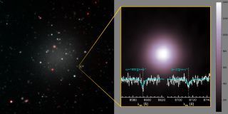 "The image on the right shows the galaxy, full of ""globular clusters."" The image on the left shows the measurement the researchers used to track the speed of one such object."