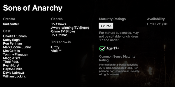 sons of anarchy netflix page