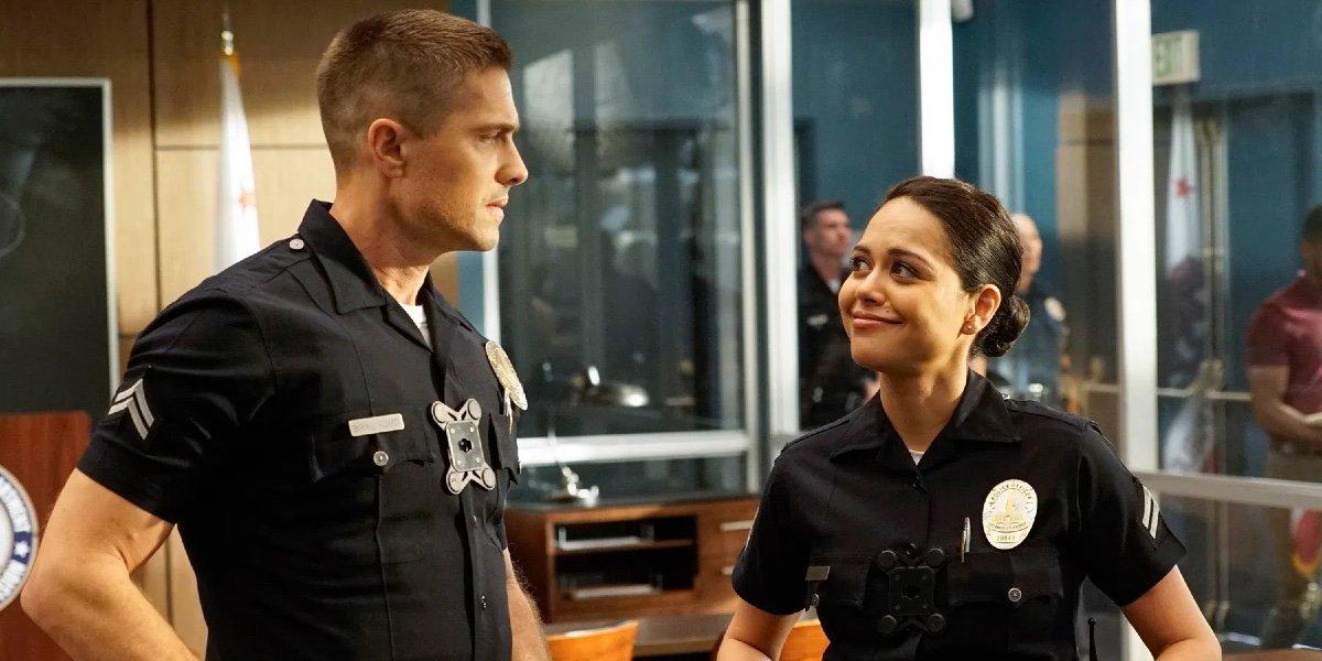 Eric Winter as Tim Bradford and Alyssa Diaz as Angela Lopez on The Rookie.