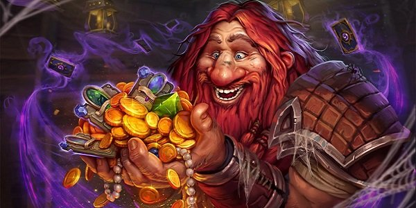 The innkeeper admires his loot in Hearthstone.