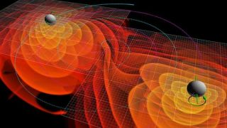 The gravitational waves emitted by two black holes as they spiral into each other, shown in a simulation.