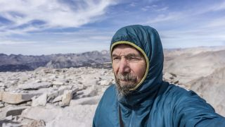 On the summit of Mount Whitney, Yosemite Valley to Death Valley walk, 2016