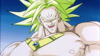 Dragon Ball Z villain Broly smiles wickedly