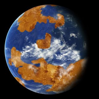 An artist's depiction of what Venus could have looked like if it once had large oceans.