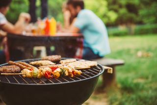 Food on a barbecue.