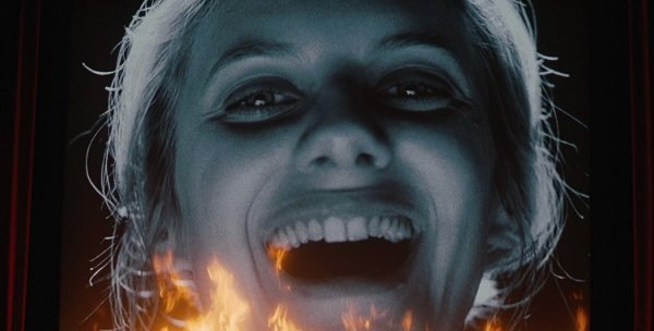 Inglorious Basterds Melanie Laurent laughing on a burning movie screen