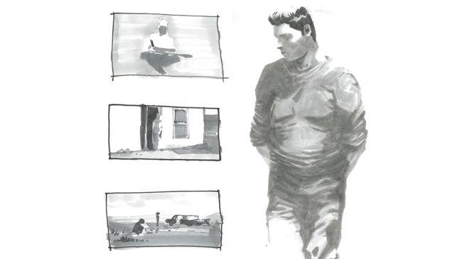Gambar pensil grafit karakter dan adegan menggunakan nilai yang berbeda