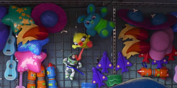 Buzz Lightyear with Bunny and Duckie in Toy Story 4