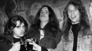 A picture of Lars Ulrich, Cliff Burton and James Hetfield in 1984