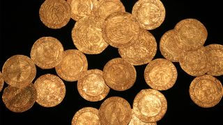 A newfound stash of 63 gold and one silver coin dates from the time of Edward IV to Henry VIII.