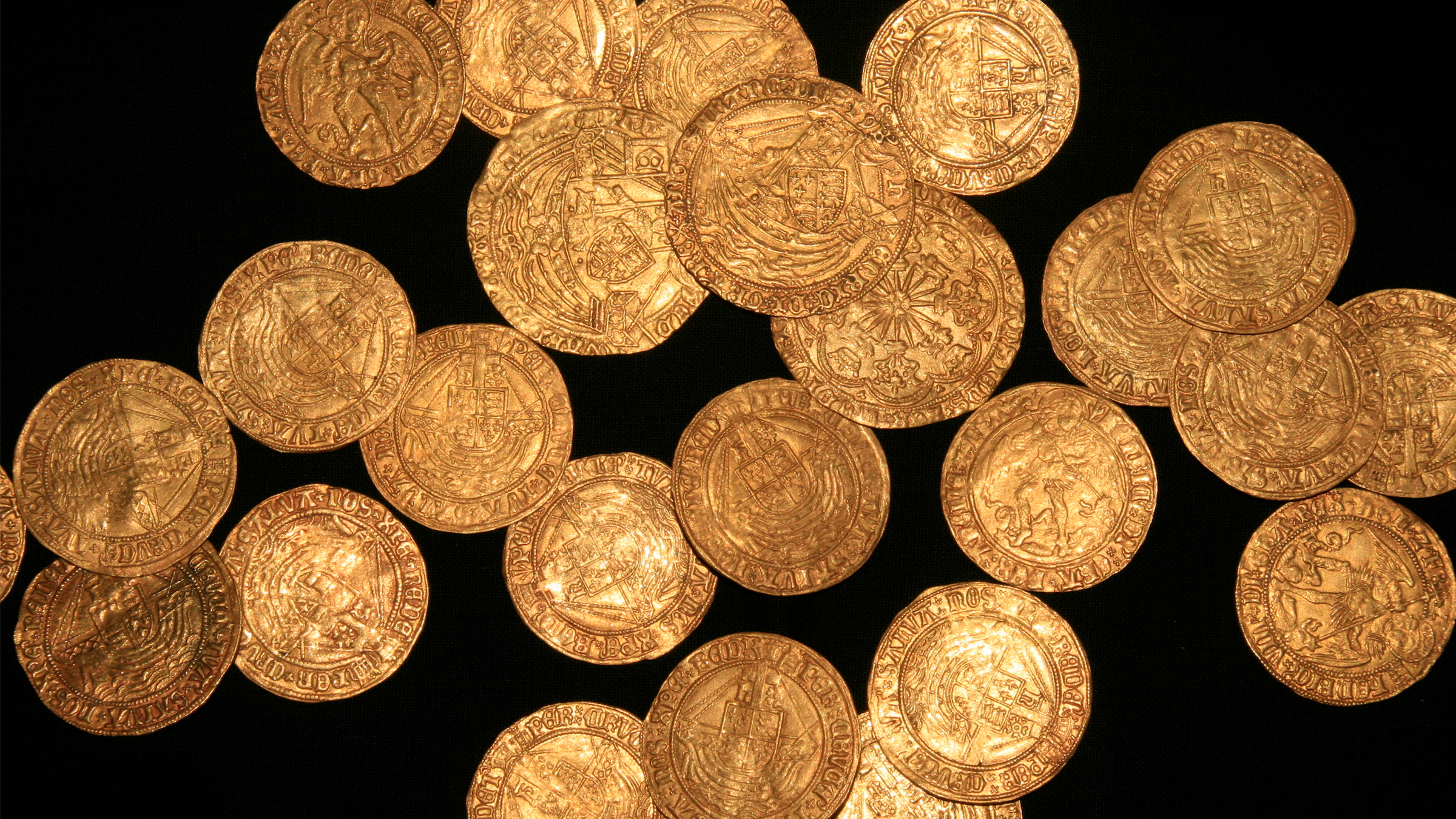 The stash of 63 gold coins and one silver coin dates to the time of Edward IV to Henry VIII.