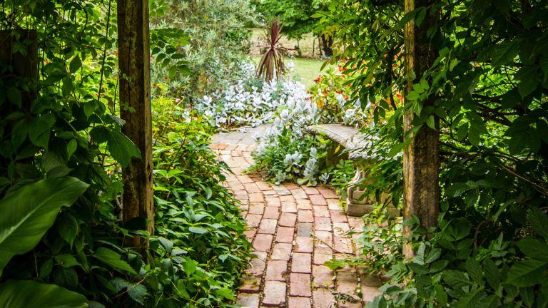 rustic brick paver garden path