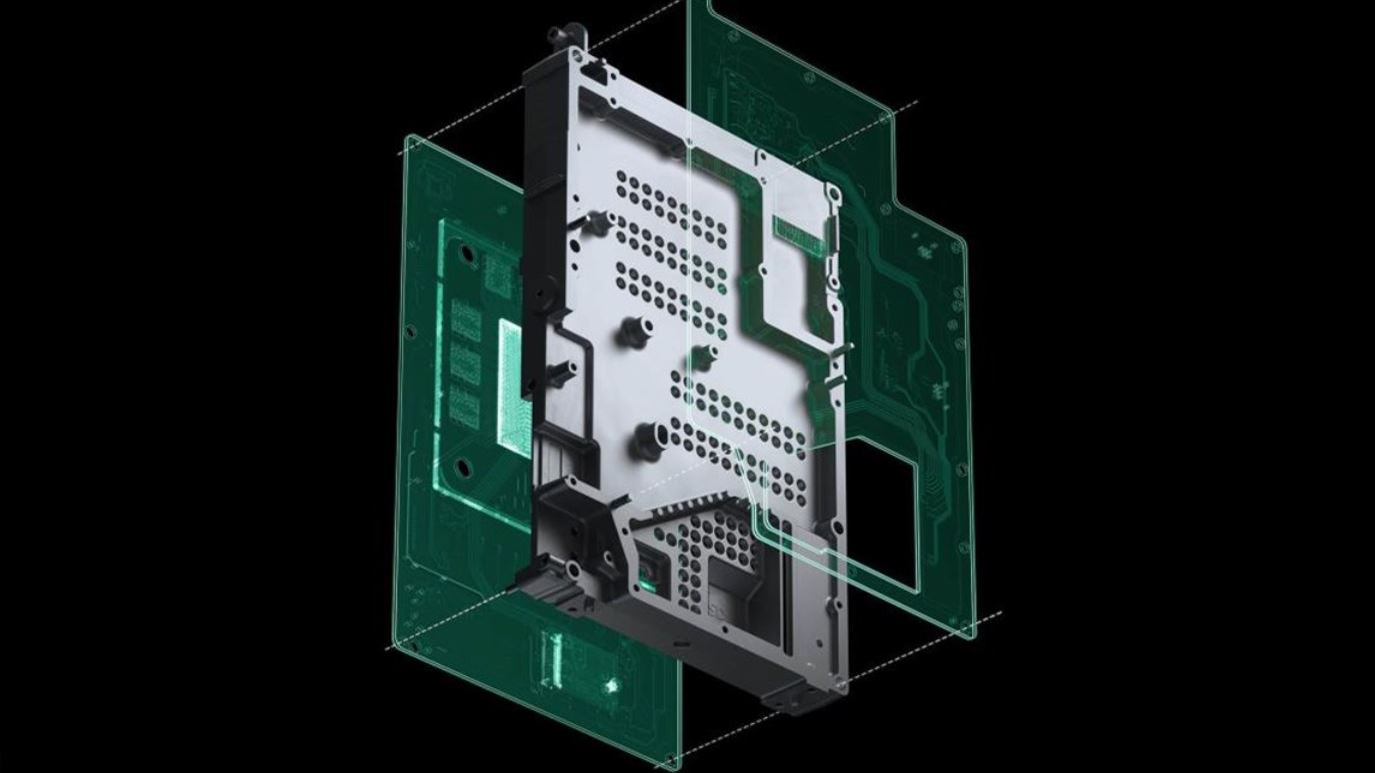 Exploded view of Xbox internal components