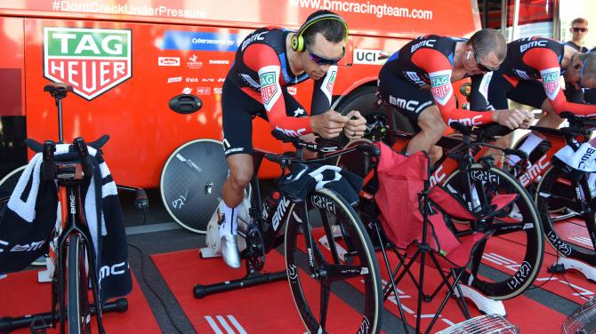 Richie Porte warms up alongside Simon Gerrans ahead of the stage
