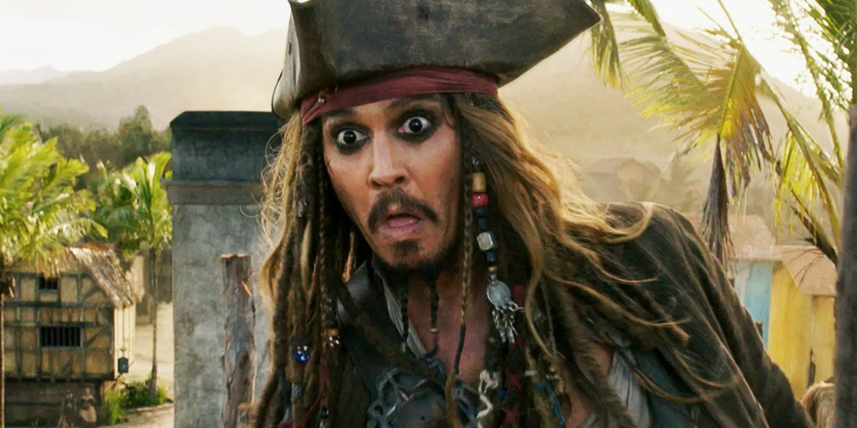 Pirates of the Caribbean: Dead Men Tell No Tales Johnny Depp makes a surprised face
