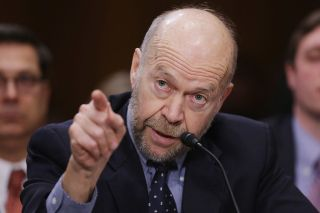 Atmospheric physicist and Columbia University Earth Institute adjunct professor James Hansen testifies before the Senate Foreign Relations Committee during a hearing about the proposed Keystone XL pipeline project on Capitol Hill, on March 13, 2014.