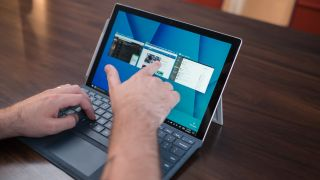 Touching Microsoft Surface laptop