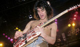 Eddie Van Halen performs with Van Halen in Jacksonville, Florida on January 18, 1984.