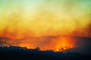 A fire blazes in Australia