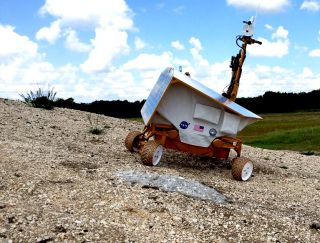 A prototype Resource Prospector lunar rover in testing before the project was canceled in April 2018 as part of NASA's renewed focus on the moon.