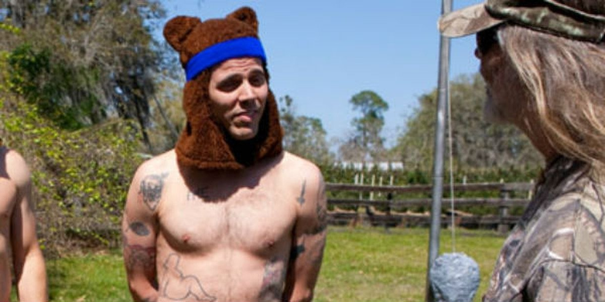 Steve-O with a bear hat on looking ridiculous.