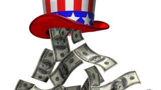 100-dollar bills fall from red white and blue tophat