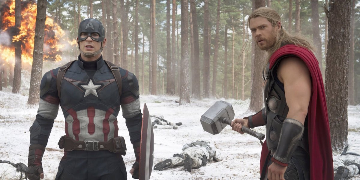 Captain America and Thor in Avengers: Age of Ultron