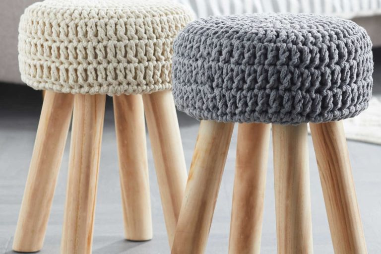 Aldi cream knitted stool