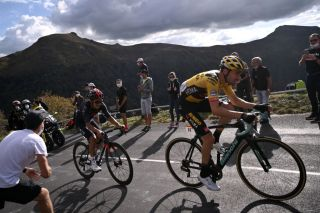 Team Jumbo rider Netherlands Tom Dumoulin R and Team Ineos rider Ecuadors Richard Carapaz ride during the 13th stage of the 107th edition of the Tour de France cycling race 191 km between ChatelGuyon and Puy Mary on September 11 2020 Photo by Marco BERTORELLO AFP Photo by MARCO BERTORELLOAFP via Getty Images