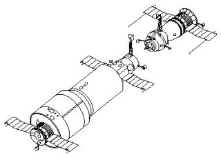 Diagram of the Soviet Salyut 1 space station (left), with a Soyuz spacecraft ready to dock.