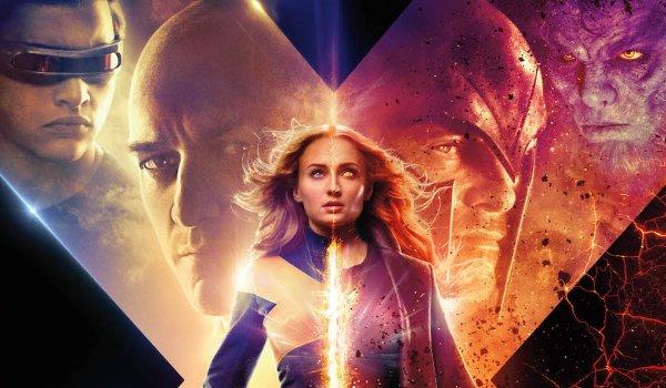 Dark Phoenix Jean Grey stands divided between two halves of X-Men