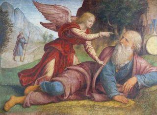 Elijah and the Angel by Bernardino Luini (1521). Public domain image.