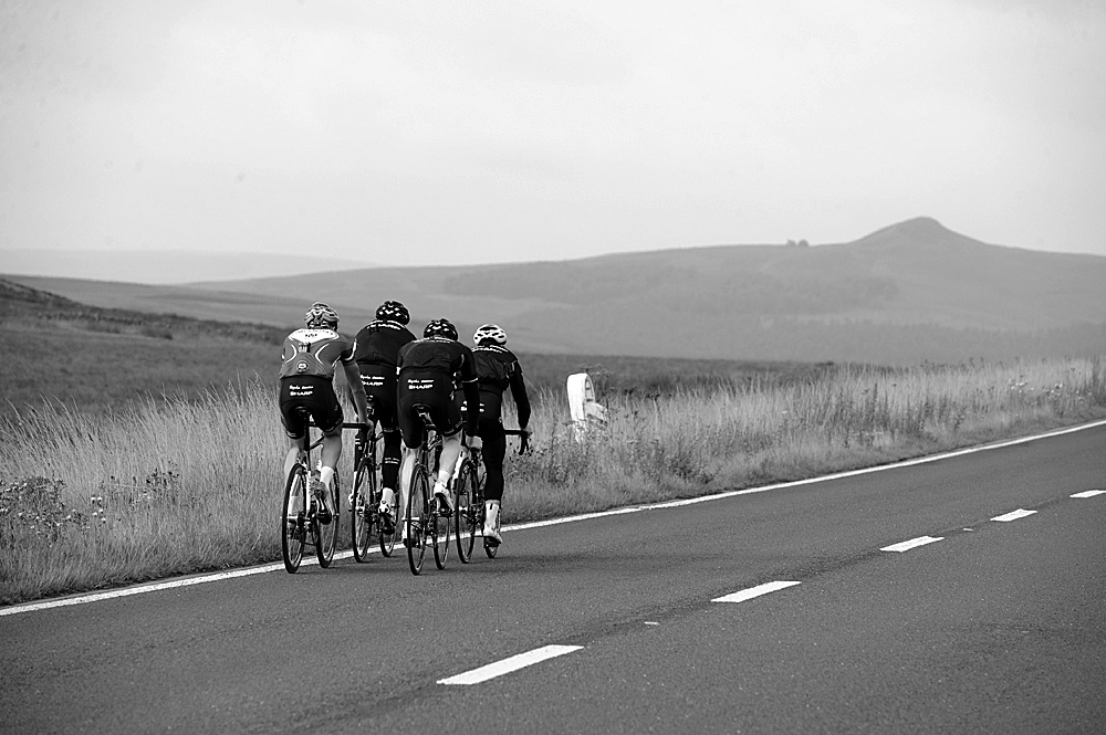 A57 with Winn Hill in the distance, Rapha Condor Sharp training in Peak District, August 2011