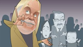 An illustration of Rick Wakeman with his mouth zipped