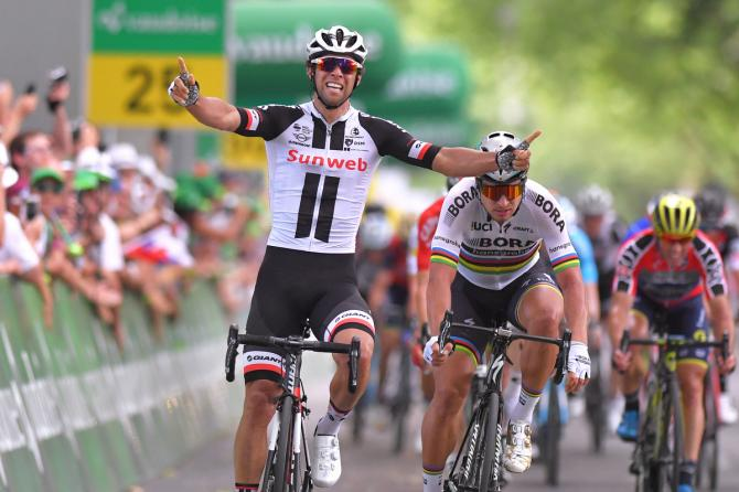 A delighted Michael Matthews celebrating his Suisse stage win