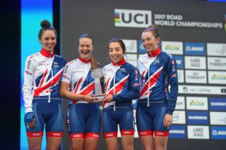 Jess Roberts (second from left) rode as a junior at the 2017 UCI Road World Championships in Bergen, Norway