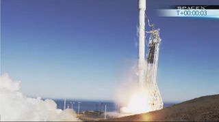 SpaceX's first next-generation Falcon 9 rocket launches on its debut test flight from Space Launch Complex 4 at Vandenberg Air Force Base in California on Sept. 29, 2013.