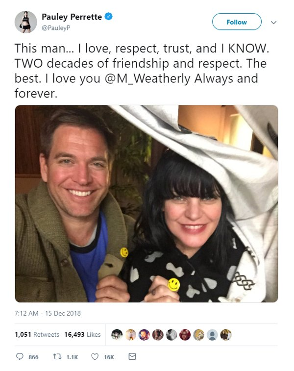Pauley Perrette tweet about NCIS costar Michael Weatherly