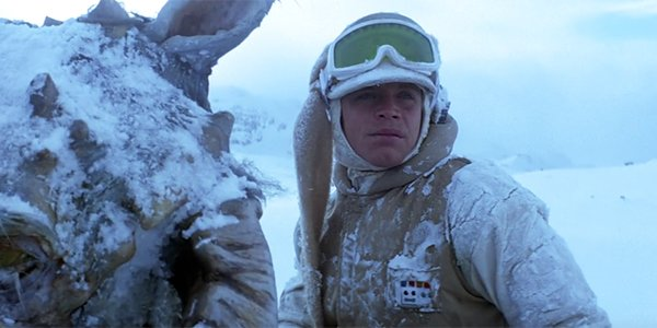 Luke riding a tauntaun on Hoth