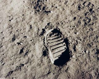 An Apollo astronaut's bootprint on the moon.