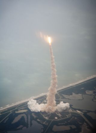 Atlantis launch seen from above