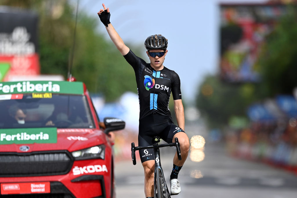 RINCON DE LA VICTORIA SPAIN AUGUST 24 Michael Storer of Australia and Team DSM celebrates at finish line as stage winner during the 76th Tour of Spain 2021 Stage 10 a 189km stage from Roquetas de Mar to Rincn de la Victoria lavuelta LaVuelta21 on August 24 2021 in Rincon De La Victoria Spain Photo by Stuart FranklinGetty Images