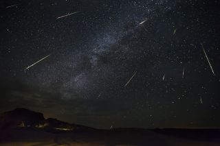 """""""Shooting stars"""" rain down on Big Bend National Park in Texas in this photo of the 2016 Perseid meteor shower."""