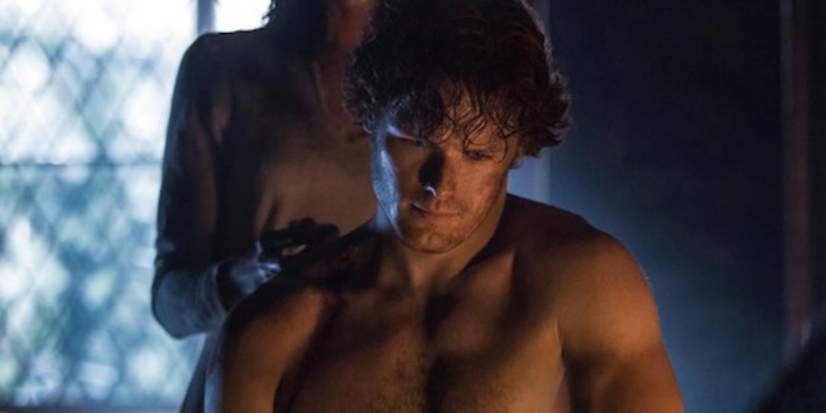 outlander season 1 sam heughan shirtless starz